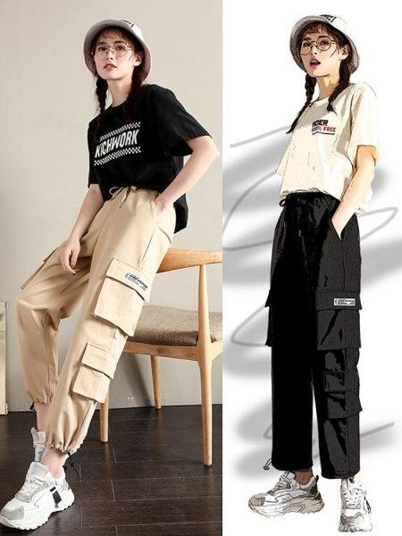 cargo工裝褲女夏季寬鬆bf直筒束腳高腰ins褲子帥氣運動褲薄款 韓小姐的衣櫥