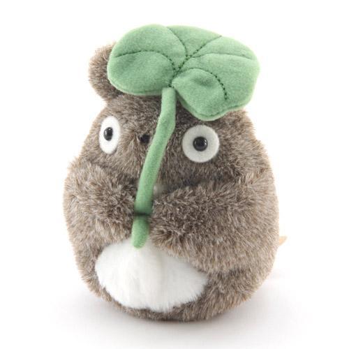 【真愛日本】龍貓totoro 宮崎駿 沙包娃 手玉娃 娃娃 布偶 收藏 擺飾 禮物 4974475576734 短絨沙包手玉娃-灰龍貓撐葉