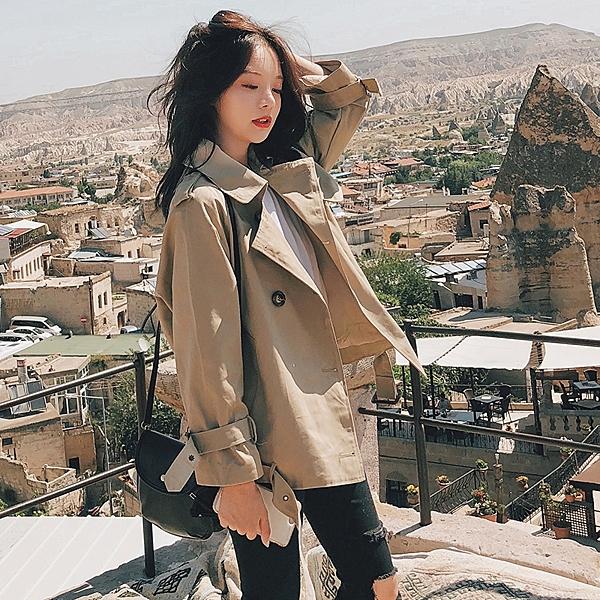 卡其色風衣女短款新款韓版春秋季矮小個子學生寬松lulu外套薄
