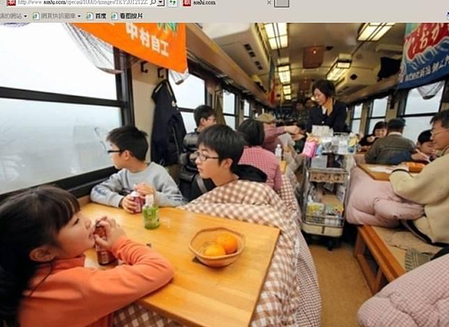 只有兩卡的三陸鐵道的北入江線(久慈至宮古),可預約暖被桌列車,冬日乘坐也不怕冷啦!(互聯網)