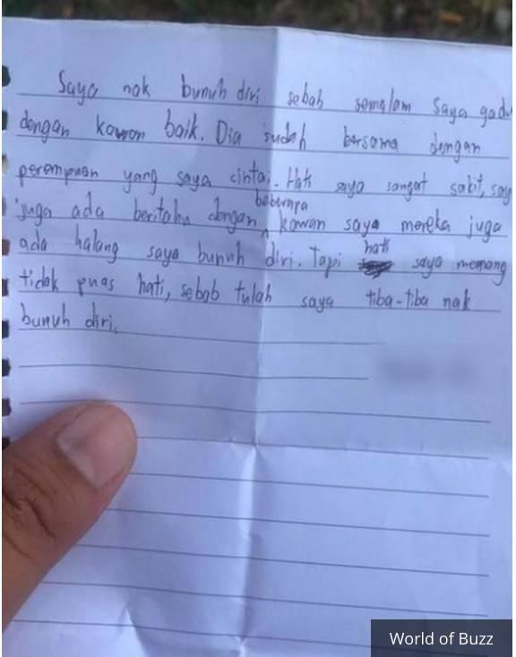 Surat yang ditinggalkan remaja 13 tahun sebelum nekat naik ke atap sekolah.