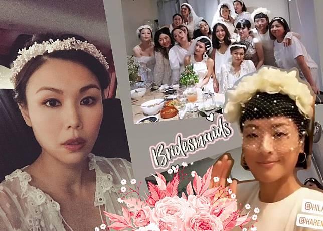 徐濠縈(右圖)同何嘉莉(左圖)披嫁衣為好友慶祝生日!