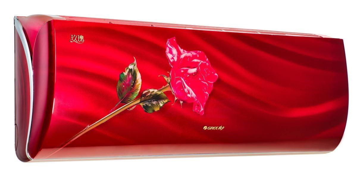 象徵愛情的玫瑰花點綴面板,格力電器讓冷暖氣機更像藝術品。