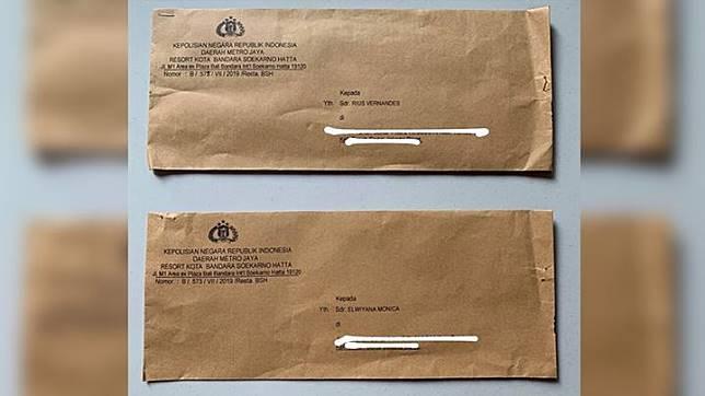 Surat panggilan kepada Youtuber Rius Vernandes dari Kepolisian Resor Bandara Soekarno-Hatta yang diterima Selasa, 16 Juli 2019. Rius dilaporkan PT Garuda Indonesia (Persero) Tbk. atas dugaan pencemaran nama baik di media sosial (Sumber: IG @rius.vernandes)