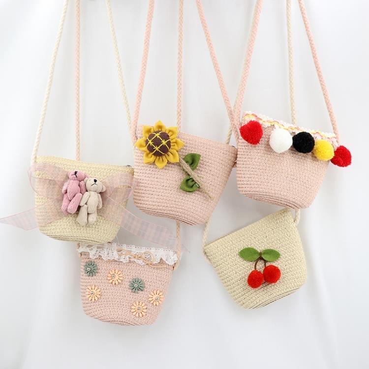 夏季新款兒童手工草編包包公主斜背包可愛女童寶寶配飾迷你零錢包