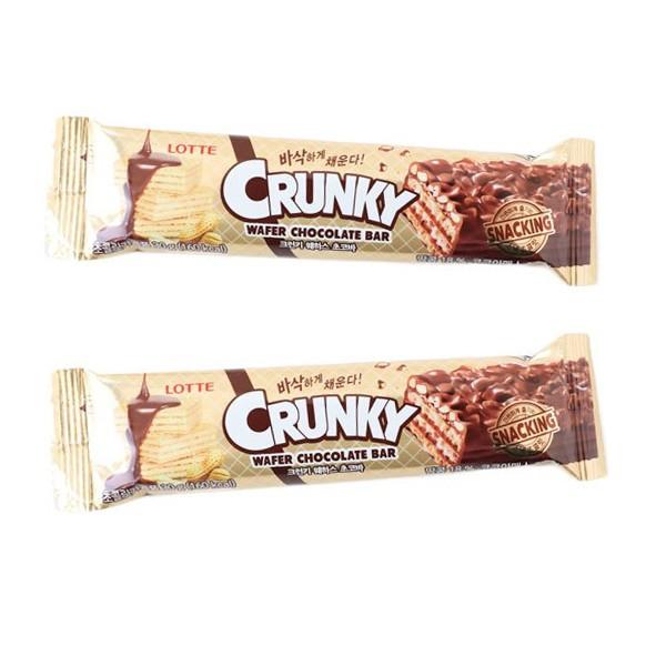 韓國 LOTTE樂天 CRUNKY 巧克力威化餅乾棒 (單支) 30g 巧克力棒 餅乾