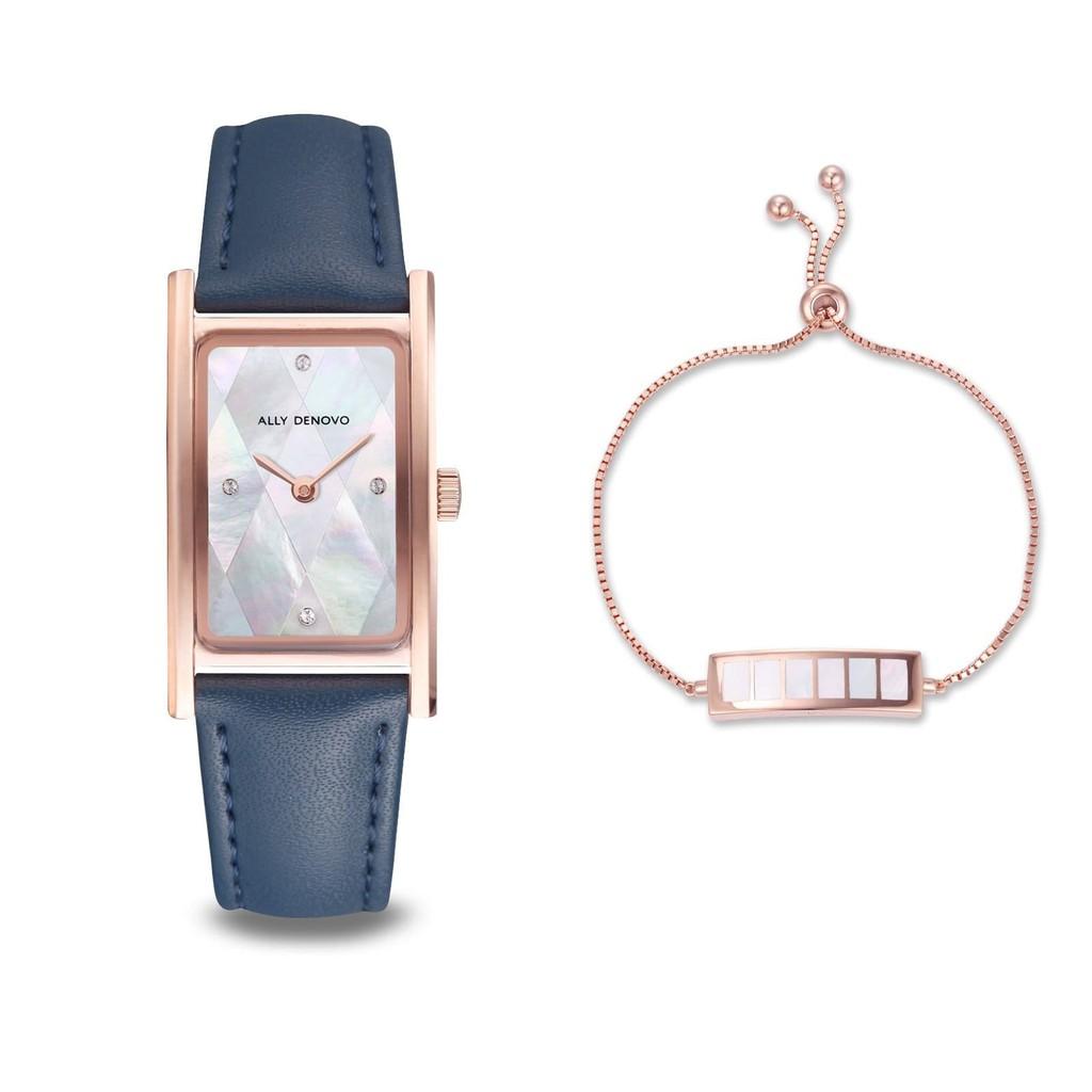 【ALLY DENOVO限量頂級方形琉璃錶鍊禮盒】珍珠白菱玫瑰金框海軍藍手錶 限時贈送 銀製手鍊(AR5002.3)