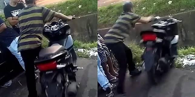Seorang Pria Menceburkan Motornya Ke Selokan (Foto: Instagram.com/pilotosdograu)