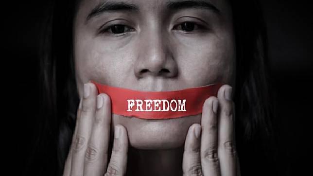 Ilustrasi pembungkaman kebebasan berpendapat. Shutterstock.com