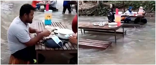 8 Potret restoran viral terletak di tengah sungai, arus air disorot