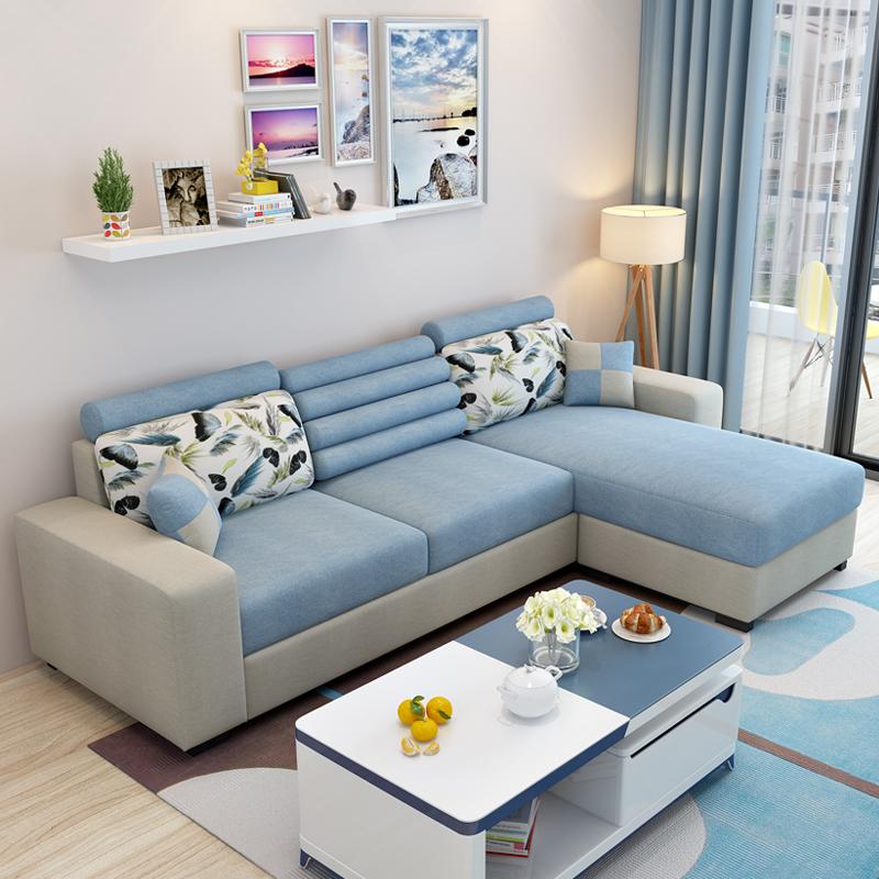 布藝沙發簡約現代客廳轉角整裝簡易小戶型沙發組合可拆洗三人沙發