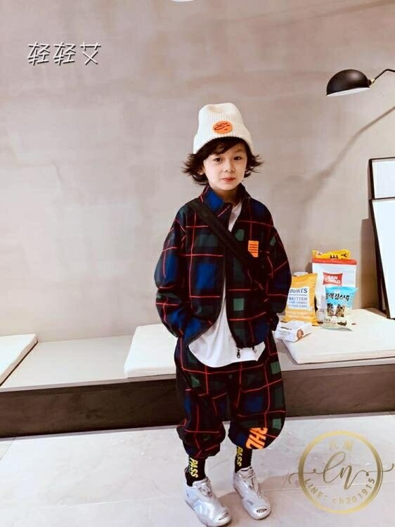 兒童套裝 自制兒童格子運動套裝秋裝男童潮牌嘻哈休閒兩件套新款潮寶寶-凡屋
