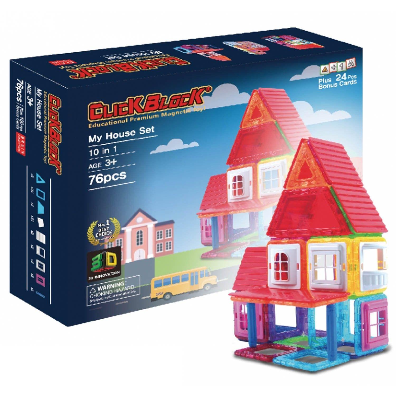 韓國 MagKinder x Click Block - 2D 磁性建構片-我的快樂小屋-76件組