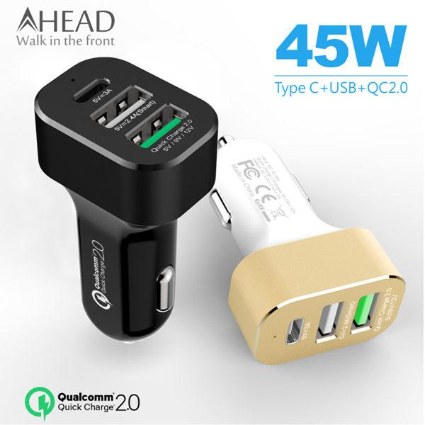 AHEAD領導者 QC2.0快充 Type-C 3孔車充 點煙器 汽車充電器 點菸器 Note7