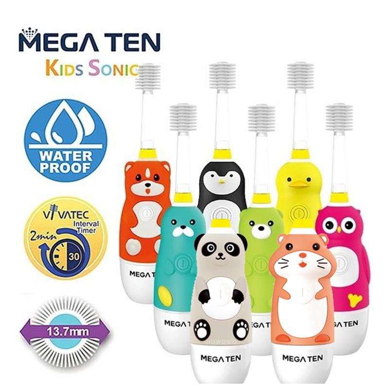 日本 Mega Ten 幼童電動牙刷-頂級款 (企鵝/小鴨/海豹/貓頭鷹/柴犬) 6008 好娃娃