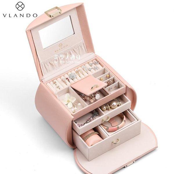 唯蘭朵首飾盒女公主歐式韓國多層大容量手飾品收納盒閨蜜結婚禮物「米蘭」
