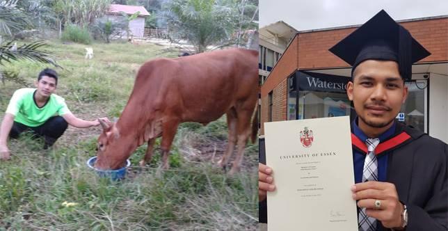 Mohammad Afiq Ismail, pemuda kampung peraih nilai istimewa di University of Essex, Inggris. (Foto: Facebook / Khairul Aiman Hamdan)