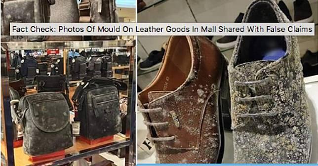 Foto yang viral di media sosial menunjukkan tas dan sepatu di pusat perbelanjaan berjamur.