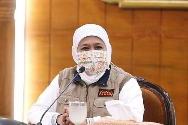 Gubernur Jatim Khofifah Indar Parawansa, saat jumpa pers di Gedung Negara Grahadi, Surabaya. (Medcom.id/Amal)