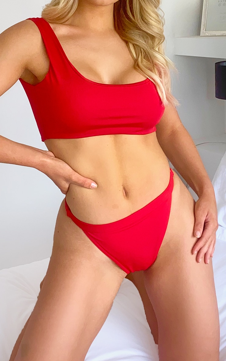 Red Elastic Adjustable Mix Match Tanga Bikini BottomBrighten up your vacay look this season with the