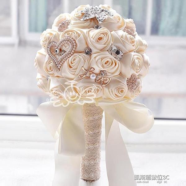 韓式新娘婚紗手捧花仿真手工布藝緞帶玫瑰花婚禮手拿拋花婚慶禮物
