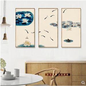 新中式客廳荷花裝飾畫沙發背景牆中國風九魚圖畫現代餐廳玄關壁畫