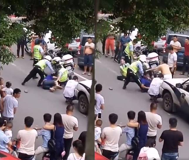 ▲員警被男子襲擊蛋蛋,痛到當場倒地。(圖/翻攝自微博)