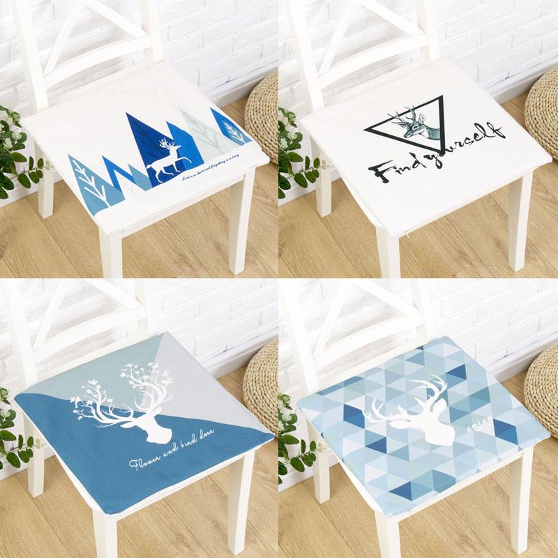 ins北歐鹿椅墊棉麻加厚坐墊板凳簡約椅子墊防滑餐椅墊辦公室