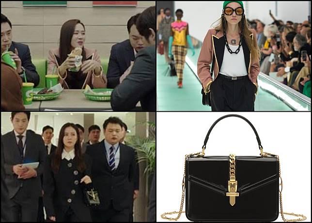 (上)大尖領外套是GUCCI 20S/S系列。(上)孫藝珍手挽手袋同樣是GUCCI 19F/W系列「Sylvie 1969」手袋款式。(互聯網)