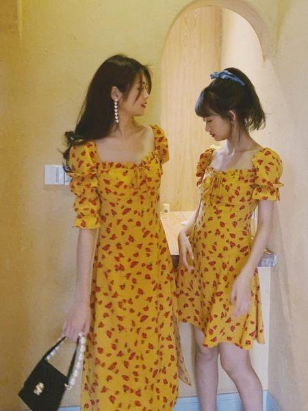 法國小眾 19夏復古少女黃色印花修身顯瘦高腰 碎花連衣裙