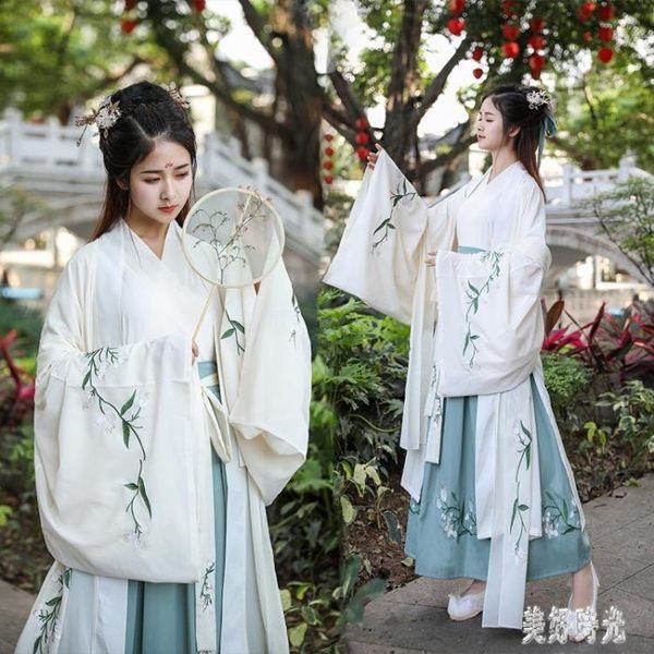 中國風古裝魏晉春夏學生日常上衣長裙漢服女仙氣齊腰襦裙廣袖杜若大袖衫