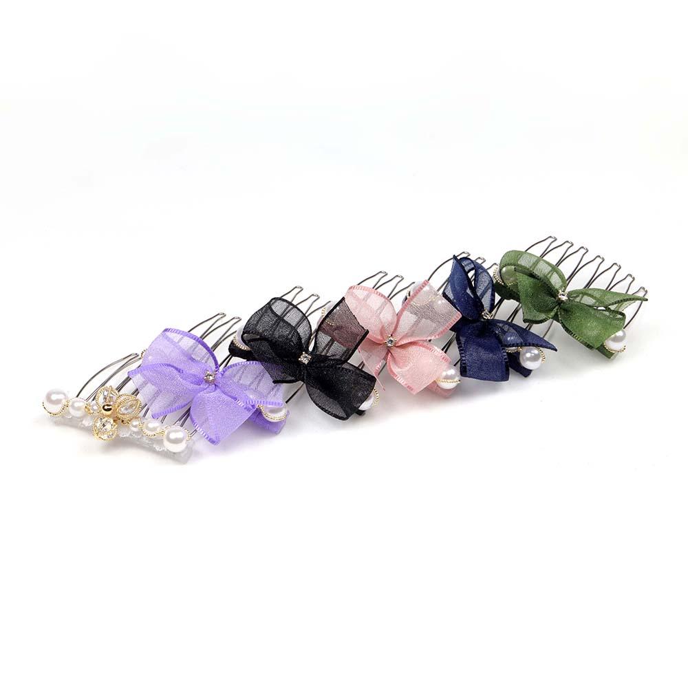 [台灣手工商品]小版珍珠串雪紡蝴蝶結氣質髮叉 6色 CC19021