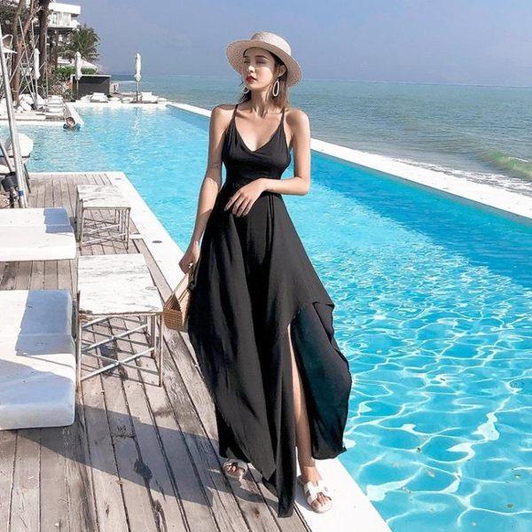 長裙波西米亞8825#黑色復古露背不規則連衣裙泰國度假沙灘裙仙女氣質長裙(NE302)皇潮天下