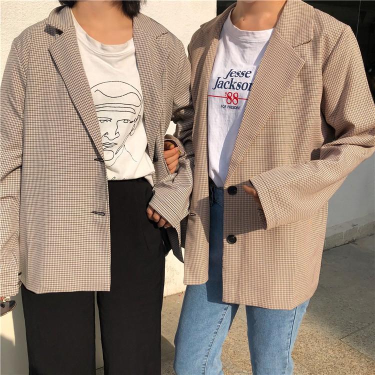 [現貨]GRASS 歐膩們必買的西裝外套 翻領外套 格子西裝外套 格子外套 西裝外套 素色西裝外套 [D7938]