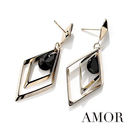 AMOR 潮流趨勢菱形質感設計耳環/配飾