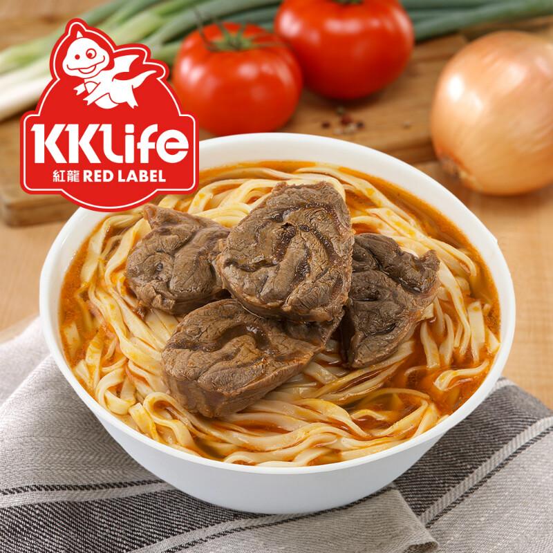 KK Life-紅龍 商品種類:牛肉麵 內容量 :1.64kg/盒【牛肉湯600g(固形量105g/包)*2包,麵220g*2包】 保存方式:保持冷凍 -18℃以下 食用方式: 【牛肉湯解凍方法】 (