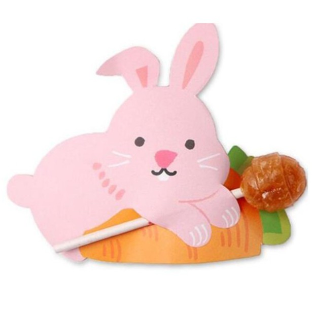 [現貨]粉色兔無尾熊小黃鴨棒棒糖吸管裝飾卡(50入) 派對裝飾 復活節【RM0136】《Jami Honey》