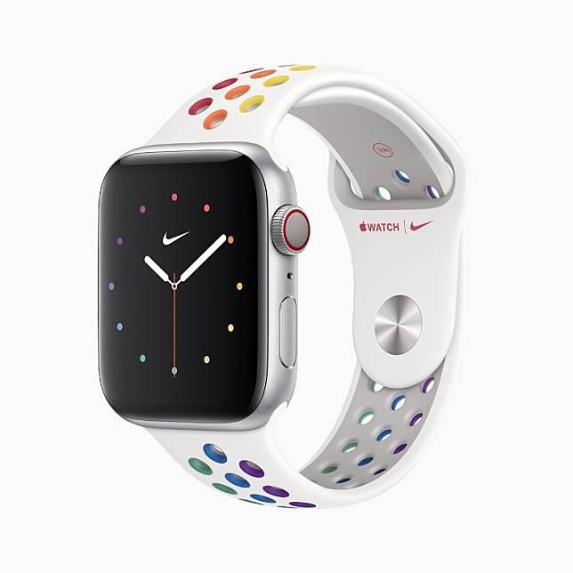 Apple Watch Nike運動錶帶終於也有加入Pride彩虹概念。(互聯網)