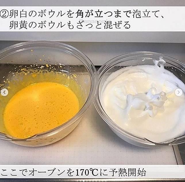蛋黃與蛋白加相同分量的沙糖,拌勻成照片中的形態。(互聯網)