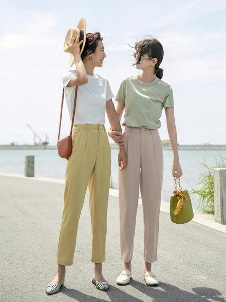 西裝褲 哈倫褲女薄款夏季休閒褲蘿卜褲寬鬆直筒高腰垂墜感九分褲西裝褲子 曼慕衣櫃