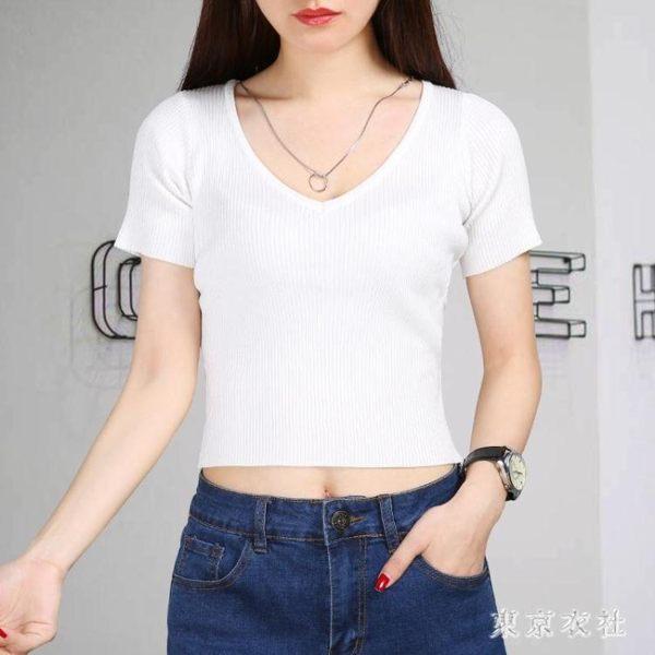 白色冰絲針織衫夏裝緊身上衣露臍V領高腰短款T恤短袖露肚臍小衫 QQ30458『東京衣社』