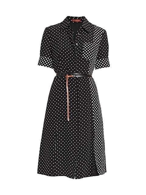 Luxurious silk shirtdress that plays with scale, showcasing a unique mix of different sized polka do