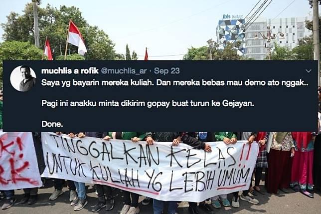 Foto demo mahasiswa dan dukungan seorang Ayah.