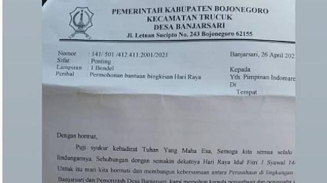 Viral surat resmi Desa Banjarsari Bojonegoro minta bingkisan Hari Raya. [Foto: tangkapan layar Instagram/@berita_bojonegoro2]