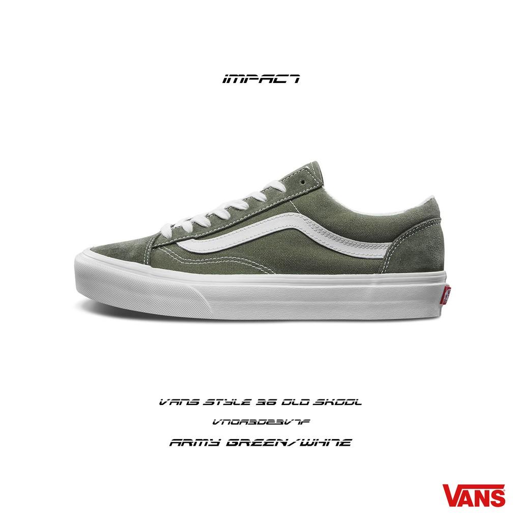 VANS Style 36 Old Skool 軍綠 白 麂皮 運動 帆布 滑板鞋 VN0A3DZ3VTF IMPACT