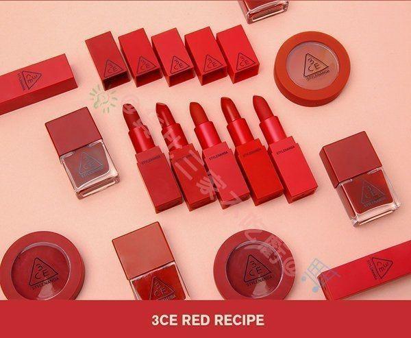 3CE Red RECIPE唇膏 5色 口紅 唇蜜 護唇膏 顯色 護唇膏 唇筆 唇秞 染唇液