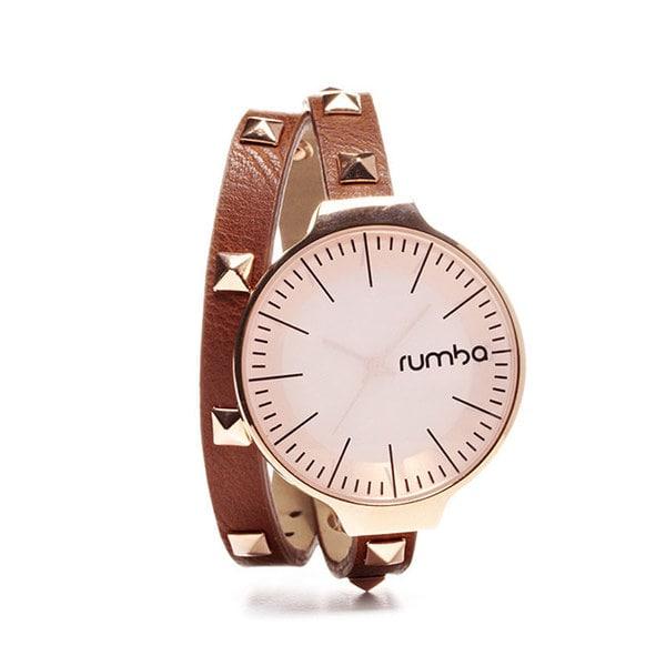 RumbaTime美國紐約 鉚釘纏繞系列 金色錶框棕色皮革錶帶手錶/35mm
