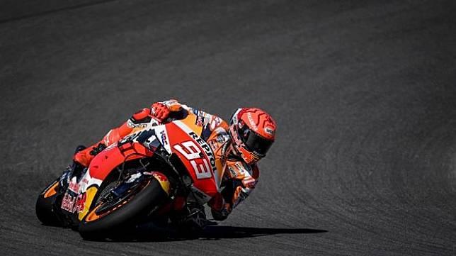 Rider Repsol Honda, Marc Marquez tampil di Sirkuit Portimao, Portugal. [PATRICIA DE MELO MOREIRA / AFP]
