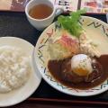 デミ玉ハンバーグランチ - 実際訪問したユーザーが直接撮影して投稿した新宿洋食はやしやの写真のメニュー情報