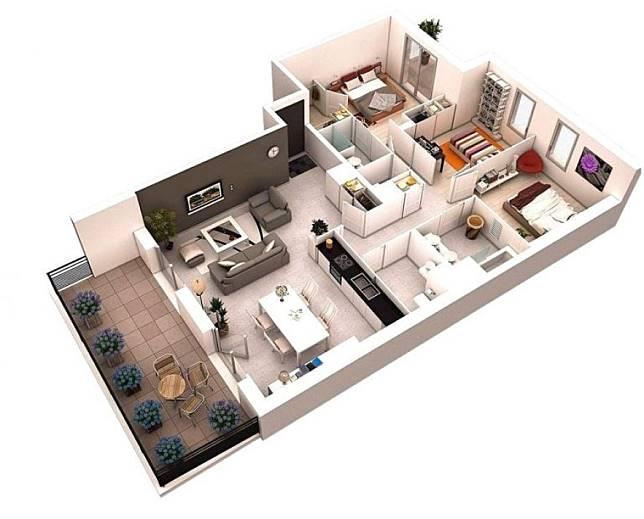 5 Contoh Rumah Minimalis 1 Lantai 3 Kamar Tidur